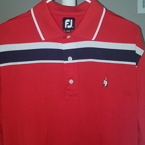 Footjoy silky golf polo red and white size large